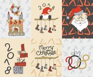 Cartes en liasse de Joyeux Noël Bonne année, 2018 Images stock