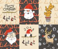 Cartes en liasse de Joyeux Noël Bonne année, 2018 Image libre de droits