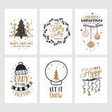 Cartes en liasse de Joyeux Noël et de bonne année Illustration de vintage de vecteur illustration stock