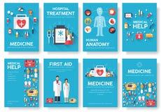 Cartes en liasse de l'information de médecine Calibre médical de flyear, magazines, affiches, couverture de livre Concept infogra Photos libres de droits