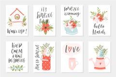 Cartes en liasse de ressort, éléments tirés par la main avec des citations, calligraphie, fleurs, guirlande, feuille illustration stock