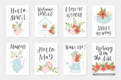 Cartes en liasse de ressort, éléments tirés par la main avec des citations, calligraphie, fleurs, guirlande, feuille Photo stock
