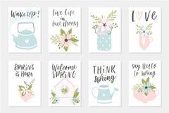 Cartes en liasse de ressort, éléments tirés par la main avec des citations, calligraphie, fleurs, guirlande, feuille Photo libre de droits