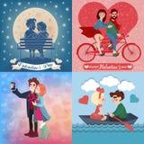 Cartes en liasse de Saint-Valentin avec de jeunes couples heureux illustration de vecteur