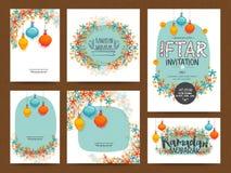 Cartes en liasse de salutation ou d'invitation pour Ramadan Kareem illustration de vecteur