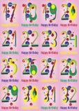 Cartes en liasse de vecteur de joyeux anniversaire illustration stock