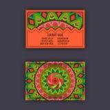 Cartes en liasse de visite de vintage de vecteur Modèle floral de mandala et Orn illustration stock