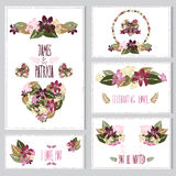 Cartes en liasse florales Photos libres de droits