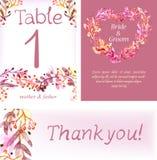 Cartes en liasse florales d'aquarelle, illustration naturelle colorée Image libre de droits
