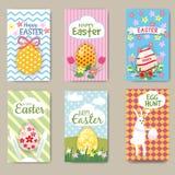 Cartes en liasse heureuses de Pâques avec le lapin, oeuf Mini Posters Collection Illustration de vecteur, Photo libre de droits