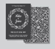 Cartes en liasse rustiques d'invitation de mariage Photographie stock libre de droits