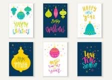 Cartes en liasse typographiques lumineuses de lettrage de Joyeux Noël Logo de vecteur, conception des textes Peut être employé po Photo libre de droits