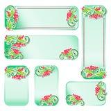 Cartes et bannières avec les éléments floraux décoratifs Photos stock
