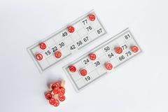 Cartes et barillets pour le jeu russe de bingo-test de loto sur le fond blanc illustration libre de droits