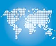 Cartes et globes de Dot World sur le fond bleu de couleur Image libre de droits