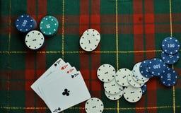 Cartes et jetons de poker Image stock