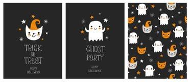 Cartes et modèle tirés par la main mignons de Halloween Illustration de Vecteur