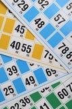 Cartes et numéros de bingo-test Photographie stock