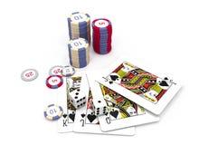 Cartes et puces d'isolement de casino Illustration de Vecteur