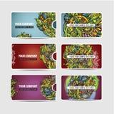 Cartes ethniques ornementales décoratives de vecteur Images libres de droits