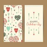 Cartões felizes do dia de Valentim com corações Imagens de Stock