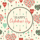 Cartões felizes do dia de Valentim com corações Fotos de Stock Royalty Free