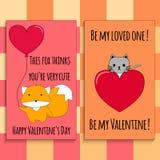 Cartões felizes do dia do ` s do Valentim Fotografia de Stock Royalty Free