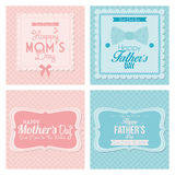 Cartões felizes do molde do dia de pai e de mãe Imagem de Stock Royalty Free
