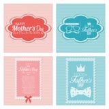 Cartões felizes do molde do dia de pai e de mãe Fotografia de Stock Royalty Free
