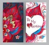 Cartes florales, salutations de jour du ` s de Valentine Photos stock