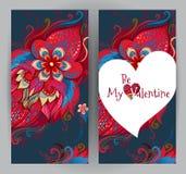 Cartes florales, salutations de jour du ` s de Valentine Image libre de droits