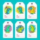 Cartes fraîches de vecteur de griffonnage de Dino image stock