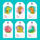 Cartes fraîches de vecteur de griffonnage de Dino images libres de droits