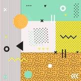 Cartes géométriques à la mode de Memphis d'éléments Image libre de droits