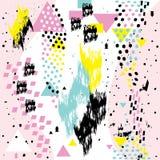 Cartes géométriques de Memphis d'éléments de withs chaotiques sans couture abstraits de modèle Images libres de droits