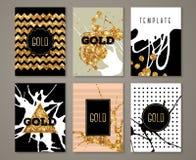 Cartes grunges de vintage avec la peinture d'or sur le noir Photos stock