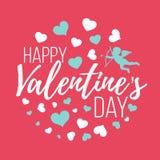 Cartes heureuses de jour de valentines avec des coeurs, l'ange et la flèche isolat Images libres de droits