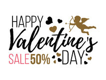 Cartes heureuses de jour de valentines avec des coeurs, l'ange et la flèche Vente Photo libre de droits