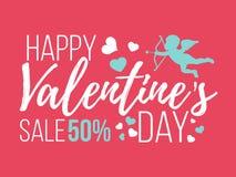 Cartes heureuses de jour de valentines avec des coeurs, l'ange et la flèche Vente Photos libres de droits