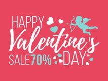 Cartes heureuses de jour de valentines avec des coeurs, l'ange et la flèche Vente Photos stock