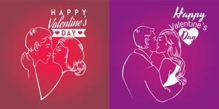 Cartes heureuses de jour de valentines avec le style linéaire Photo libre de droits