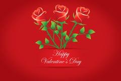 Cartes heureuses de Saint-Valentin. Bouquet des roses rouges. Vecteurs Images libres de droits