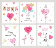 Cartes heureuses réglées de jour du ` s de Valentine Image stock