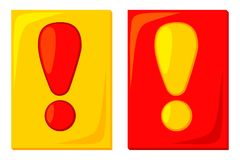 Cartes jaunes rouges d'une attention de bande dessinée colorée illustration libre de droits