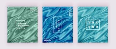 Cartes liquides de texture de marbre d'aquarelle Tourbillonne l'encre, ondule le fond de conception Calibre liquide à la mode pou illustration stock