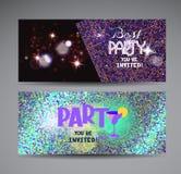 Cartes lumineuses colorées d'invitation de partie Photo stock