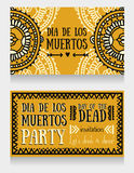 Cartes mignonnes d'invitation pour dia de los muertos Photo stock