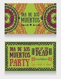 Cartes mignonnes d'invitation pour dia de los muertos Photographie stock