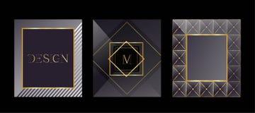 Cartes modernes Calibres de empaquetage pour les produits de luxe Conception de logo, style d'affaires Vue pour le texte illustration stock