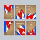 Cartes patriotiques du Cuba pour le jour national illustration libre de droits